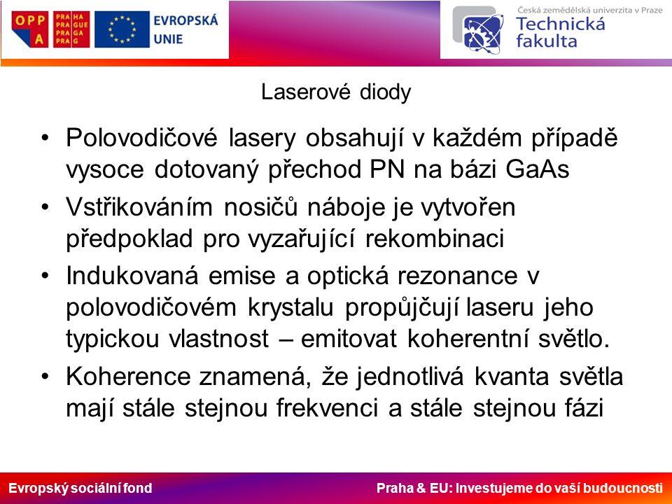 Evropský sociální fond Praha & EU: Investujeme do vaší budoucnosti Laserové diody Polovodičové lasery obsahují v každém případě vysoce dotovaný přechod PN na bázi GaAs Vstřikováním nosičů náboje je vytvořen předpoklad pro vyzařující rekombinaci Indukovaná emise a optická rezonance v polovodičovém krystalu propůjčují laseru jeho typickou vlastnost – emitovat koherentní světlo.