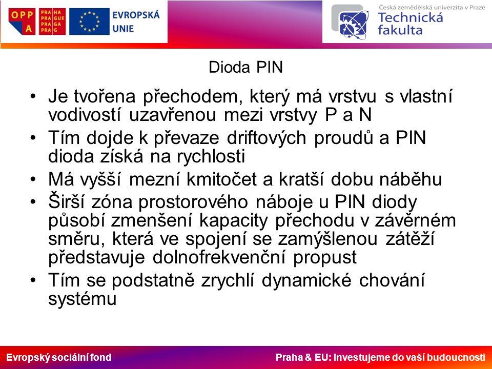 Evropský sociální fond Praha & EU: Investujeme do vaší budoucnosti Dioda PIN Je tvořena přechodem, který má vrstvu s vlastní vodivostí uzavřenou mezi vrstvy P a N Tím dojde k převaze driftových proudů a PIN dioda získá na rychlosti Má vyšší mezní kmitočet a kratší dobu náběhu Širší zóna prostorového náboje u PIN diody působí zmenšení kapacity přechodu v závěrném směru, která ve spojení se zamýšlenou zátěží představuje dolnofrekvenční propust Tím se podstatně zrychlí dynamické chování systému