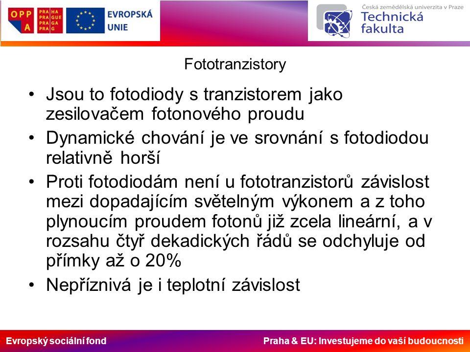Evropský sociální fond Praha & EU: Investujeme do vaší budoucnosti Fototranzistory Jsou to fotodiody s tranzistorem jako zesilovačem fotonového proudu Dynamické chování je ve srovnání s fotodiodou relativně horší Proti fotodiodám není u fototranzistorů závislost mezi dopadajícím světelným výkonem a z toho plynoucím proudem fotonů již zcela lineární, a v rozsahu čtyř dekadických řádů se odchyluje od přímky až o 20% Nepříznivá je i teplotní závislost