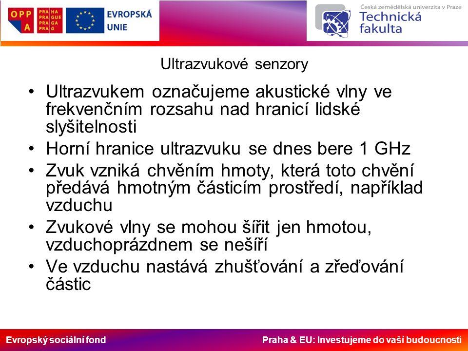 Evropský sociální fond Praha & EU: Investujeme do vaší budoucnosti Ultrazvukové senzory Ultrazvukem označujeme akustické vlny ve frekvenčním rozsahu nad hranicí lidské slyšitelnosti Horní hranice ultrazvuku se dnes bere 1 GHz Zvuk vzniká chvěním hmoty, která toto chvění předává hmotným částicím prostředí, například vzduchu Zvukové vlny se mohou šířit jen hmotou, vzduchoprázdnem se nešíří Ve vzduchu nastává zhušťování a zřeďování částic