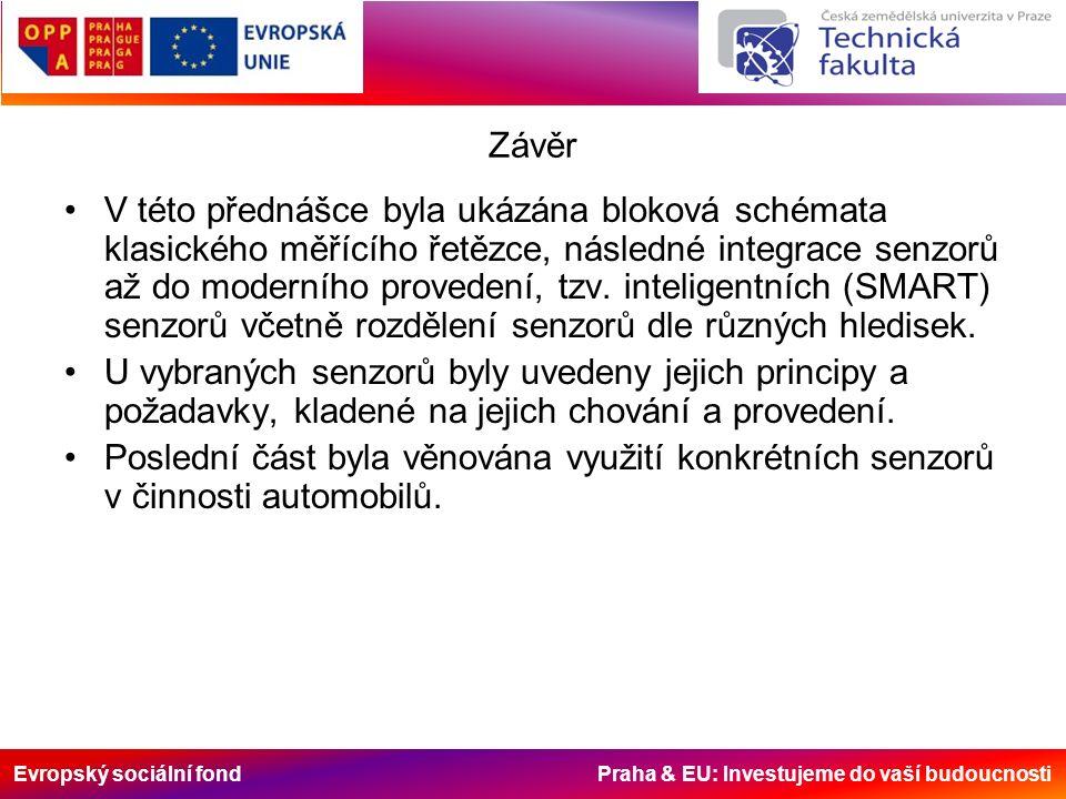 Evropský sociální fond Praha & EU: Investujeme do vaší budoucnosti Závěr V této přednášce byla ukázána bloková schémata klasického měřícího řetězce, následné integrace senzorů až do moderního provedení, tzv.