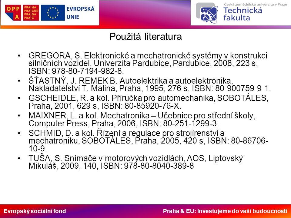Evropský sociální fond Praha & EU: Investujeme do vaší budoucnosti Použitá literatura GREGORA, S. Elektronické a mechatronické systémy v konstrukci si
