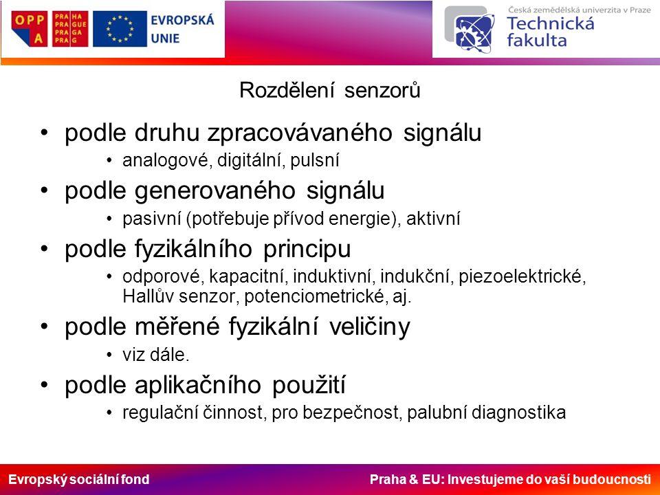 Evropský sociální fond Praha & EU: Investujeme do vaší budoucnosti Rozdělení senzorů podle druhu zpracovávaného signálu analogové, digitální, pulsní podle generovaného signálu pasivní (potřebuje přívod energie), aktivní podle fyzikálního principu odporové, kapacitní, induktivní, indukční, piezoelektrické, Hallův senzor, potenciometrické, aj.