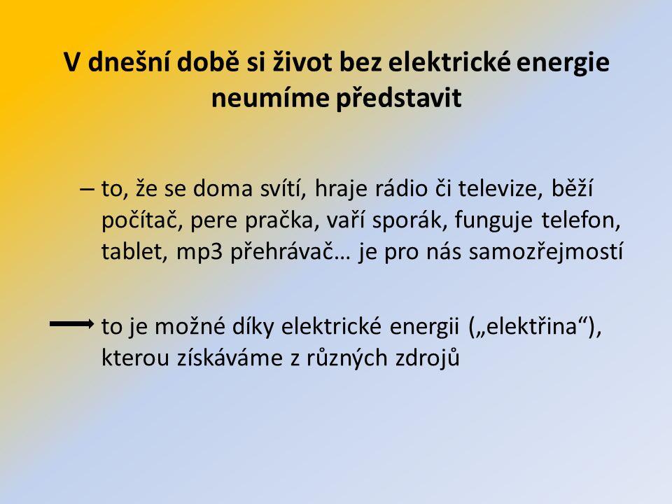 Elektrická energie se vyrábí v elektrárnách Názvy elektráren odvozujeme podle toho, co v nich pohání stroje, které vyrábí elektřinu.
