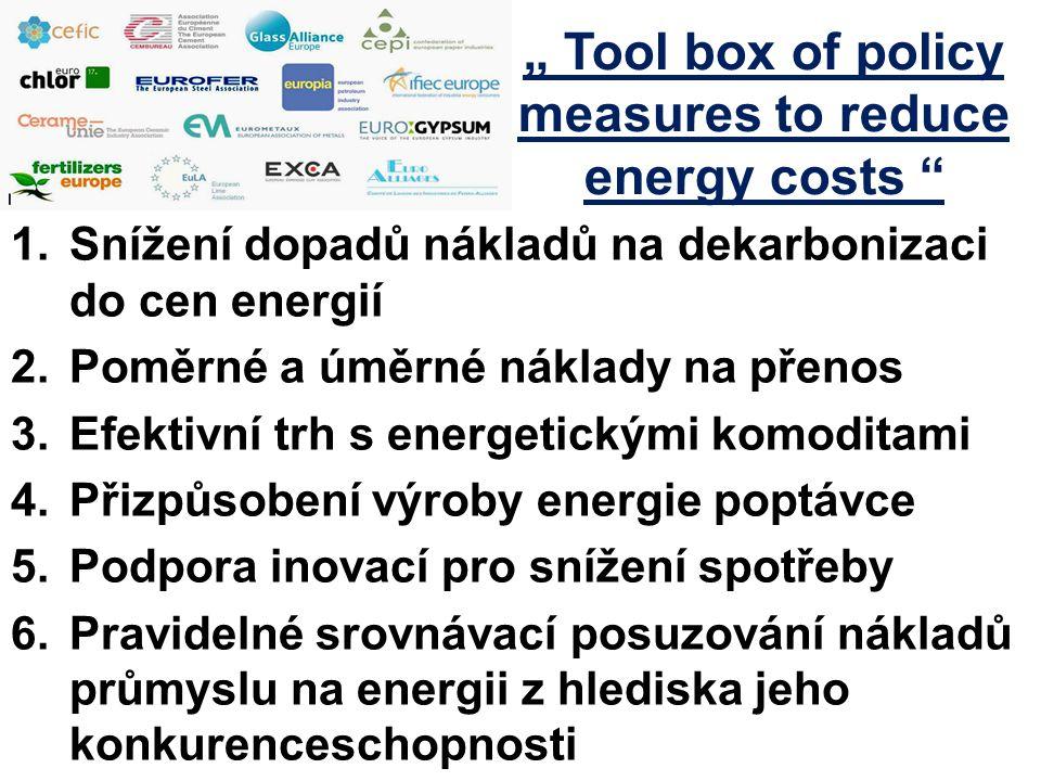 """1.Snížení dopadů nákladů na dekarbonizaci do cen energií 2.Poměrné a úměrné náklady na přenos 3.Efektivní trh s energetickými komoditami 4.Přizpůsobení výroby energie poptávce 5.Podpora inovací pro snížení spotřeby 6.Pravidelné srovnávací posuzování nákladů průmyslu na energii z hlediska jeho konkurenceschopnosti """" Tool box of policy measures to reduce energy costs"""