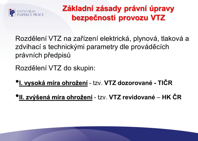 Základní zásady právní úpravy bezpečnosti provozu VTZ Rozdělení VTZ na zařízení elektrická, plynová, tlaková a zdvihací s technickými parametry dle prováděcích právních předpisů Rozdělení VTZ do skupin: I.