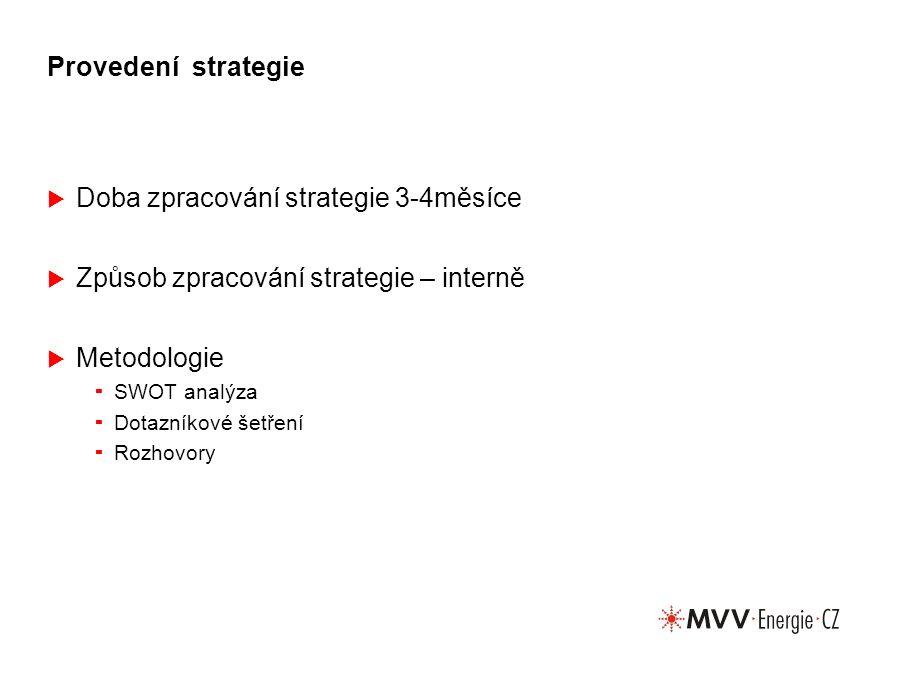 Provedení strategie  Doba zpracování strategie 3-4měsíce  Způsob zpracování strategie – interně  Metodologie  SWOT analýza  Dotazníkové šetření  Rozhovory