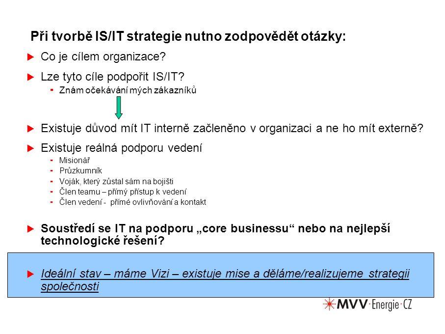 Při tvorbě IS/IT strategie nutno zodpovědět otázky:  Co je cílem organizace.