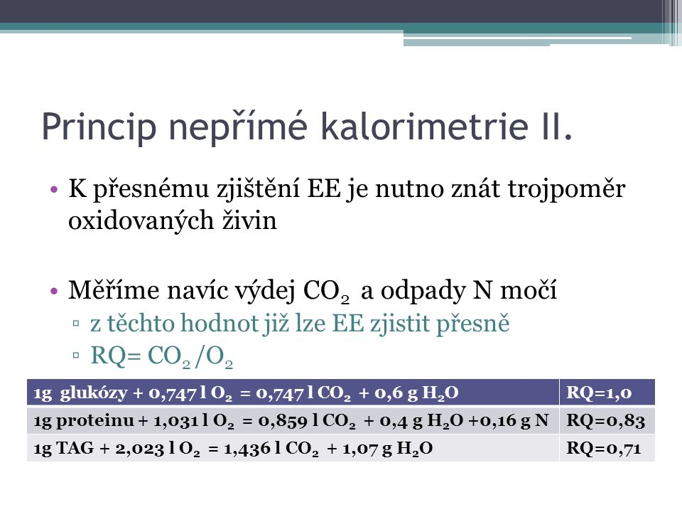 Princip nepřímé kalorimetrie III.