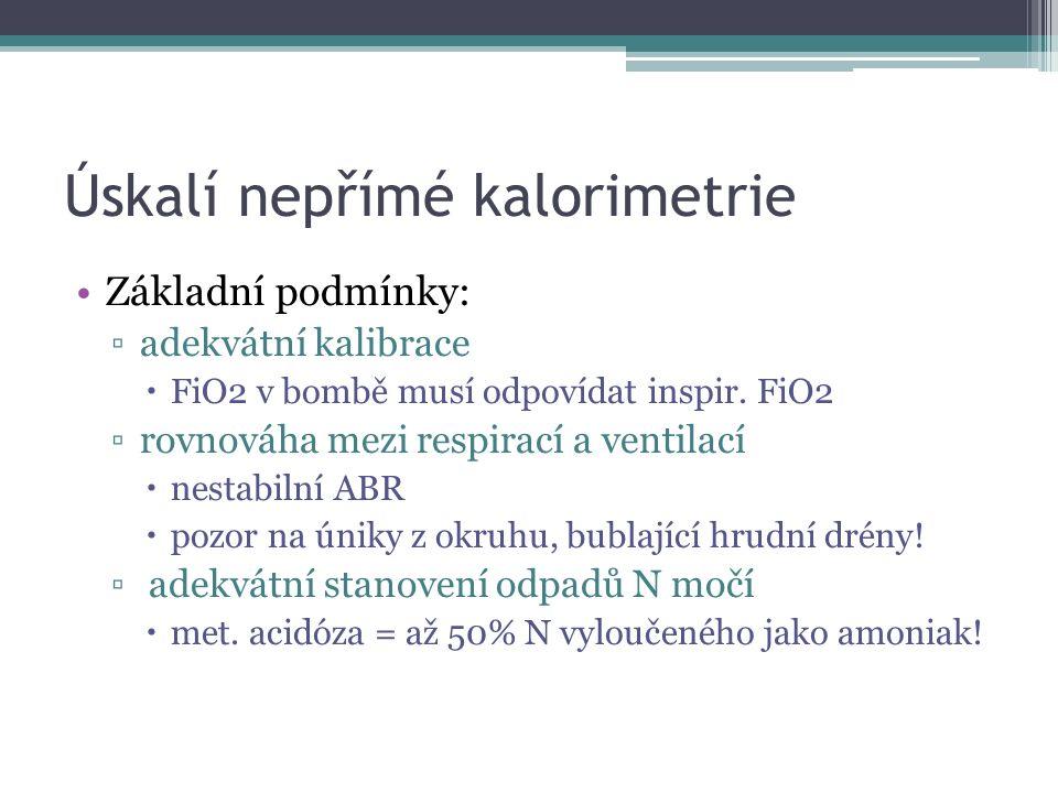 """Úskalí nepřímé kalorimetrie II Metabolický """"steady state je předpokladem ▫GNG z AK a následně oxidace glukózy kalorimetrie nerozliší od přímé oxidace AK ▫ketogeneze z MK a oxidace KL = oxidace MK atp."""