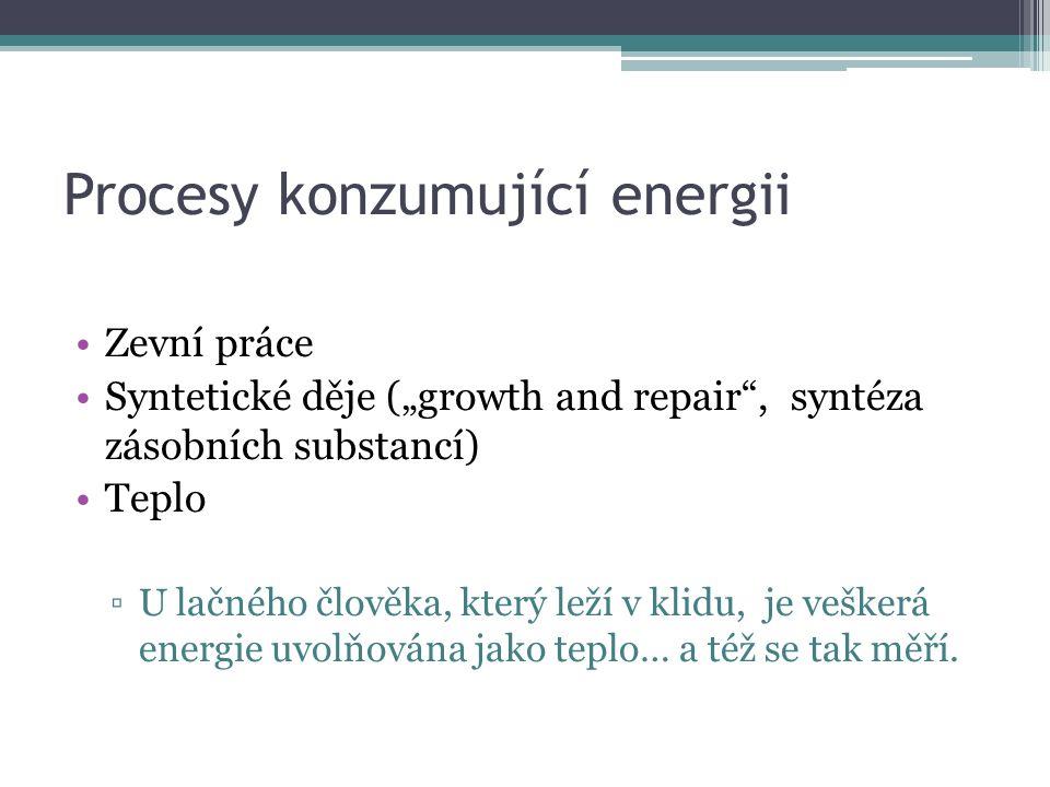 """Procesy konzumující energii Zevní práce Syntetické děje (""""growth and repair , syntéza zásobních substancí) Teplo ▫U lačného člověka, který leží v klidu, je veškerá energie uvolňována jako teplo… a též se tak měří."""