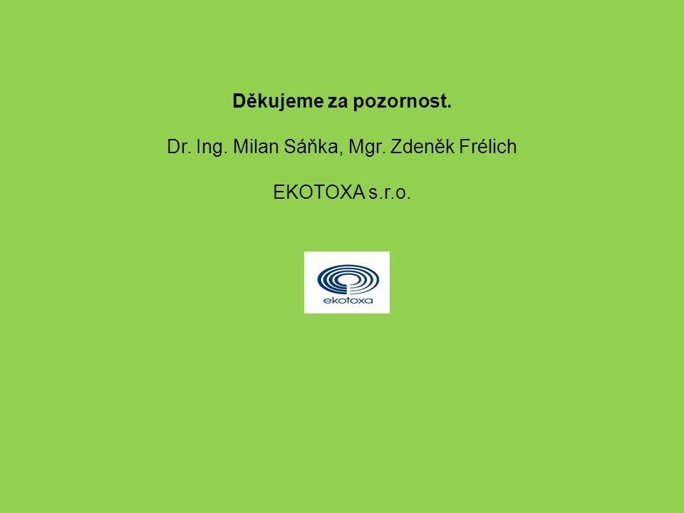 Děkujeme za pozornost. Dr. Ing. Milan Sáňka, Mgr. Zdeněk Frélich EKOTOXA s.r.o.