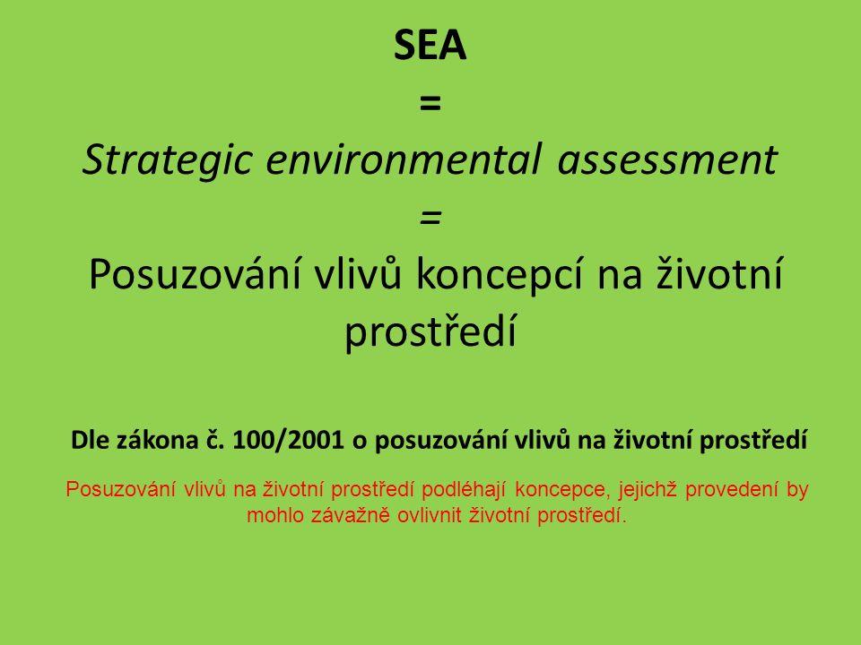 Cíle a účel SEA Zajistit, aby provedení koncepce nemělo významný negativní vliv na životní prostředí Aby koncepce měla pozitivní vliv na životní prostředí Zabránit budoucím střetům se zájmy životního prostředí již na plánovací úrovni – šetření finančních prostředků Strategický plán je dokument sloužící jako opora pro získání dotací z evropských fondů Zajistit soulad s dalšími strategiemi