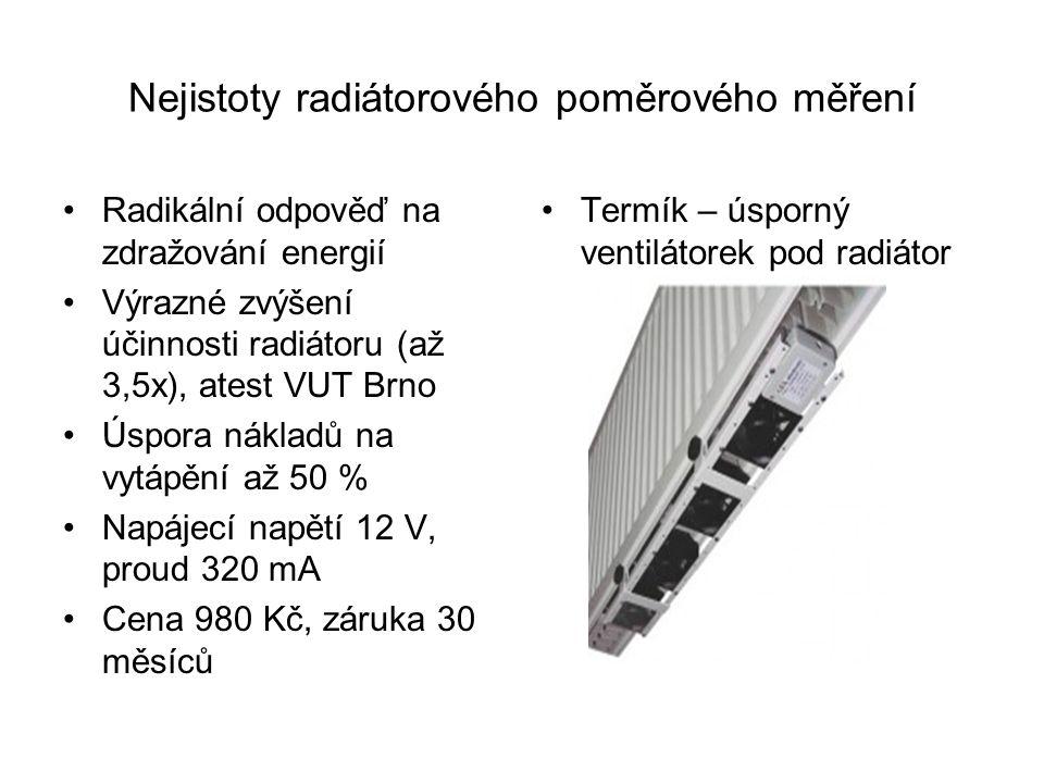 Nejistoty radiátorového poměrového měření Radikální odpověď na zdražování energií Výrazné zvýšení účinnosti radiátoru (až 3,5x), atest VUT Brno Úspora nákladů na vytápění až 50 % Napájecí napětí 12 V, proud 320 mA Cena 980 Kč, záruka 30 měsíců Termík – úsporný ventilátorek pod radiátor