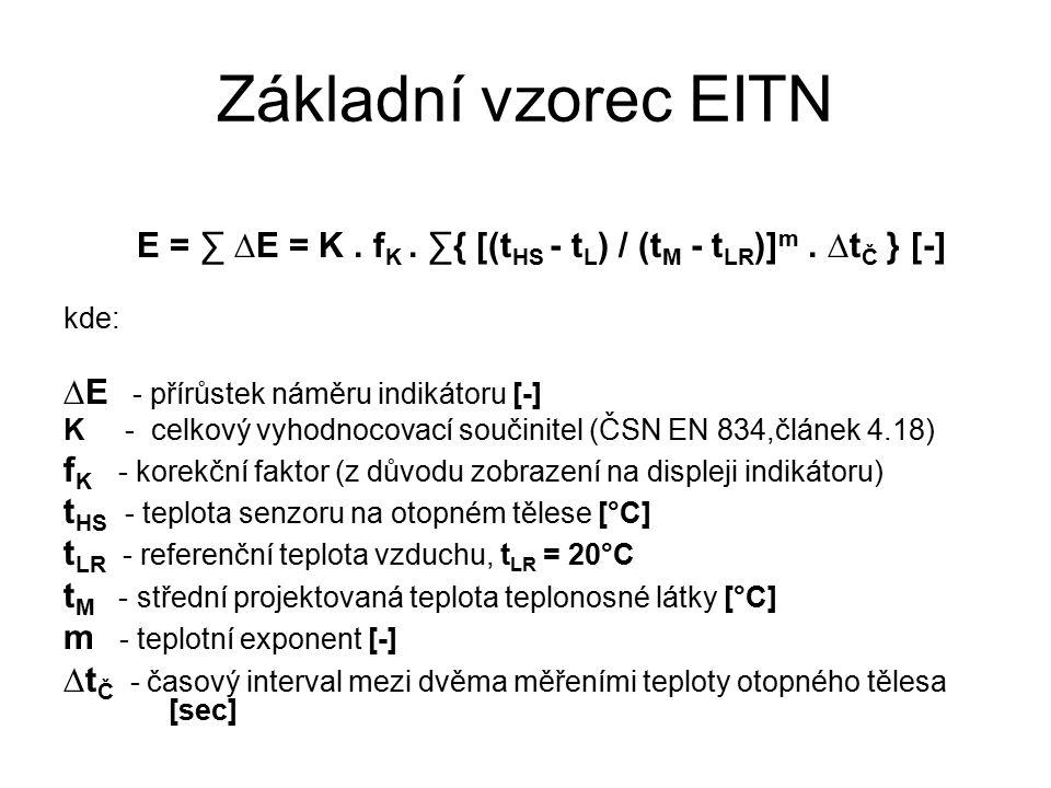 Základní vzorec EITN E = ∑ ∆E = K. f K. ∑{ [(t HS - t L ) / (t M - t LR )] m.