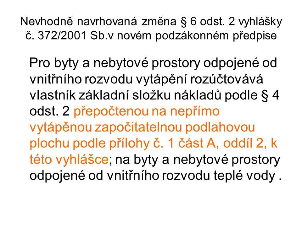 Nevhodně navrhovaná změna § 6 odst. 2 vyhlášky č.