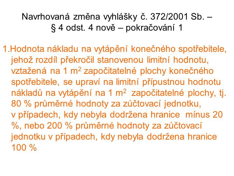 Navrhovaná změna vyhlášky č. 372/2001 Sb. – § 4 odst.