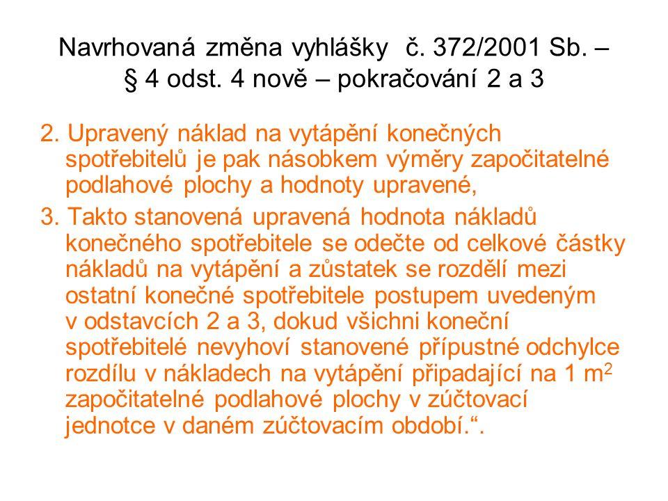 Navrhovaná změna vyhlášky č.372/2001 Sb. – § 4 odst.