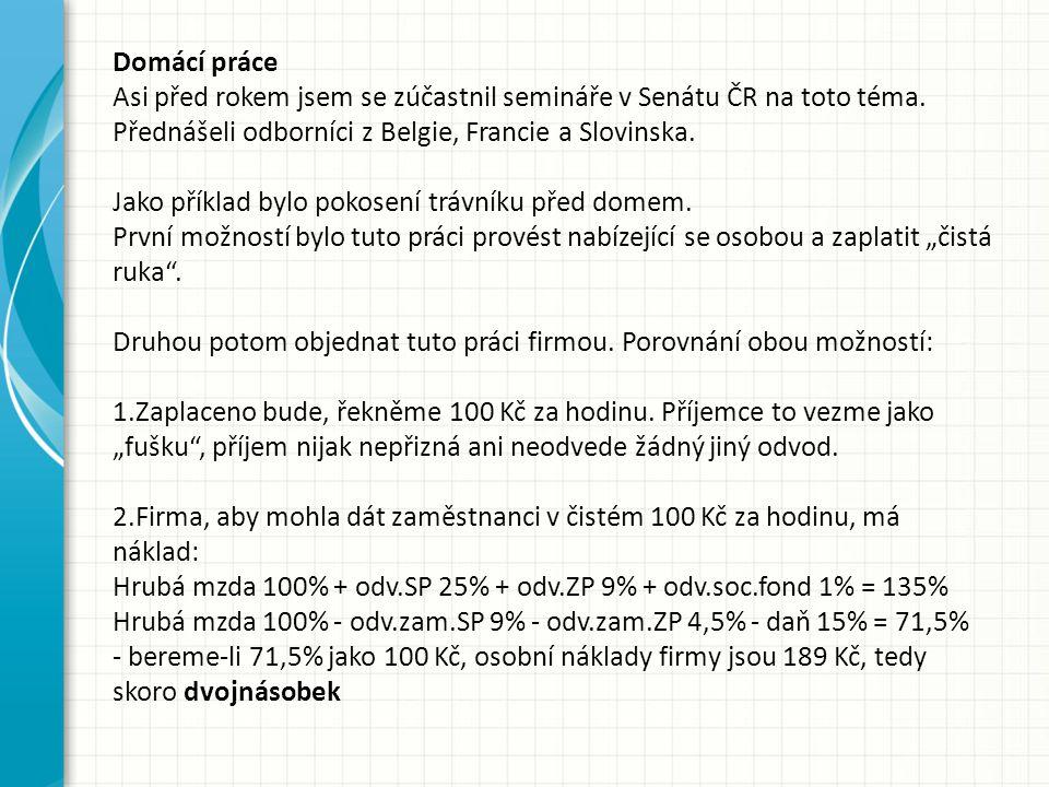 Domácí práce Asi před rokem jsem se zúčastnil semináře v Senátu ČR na toto téma.