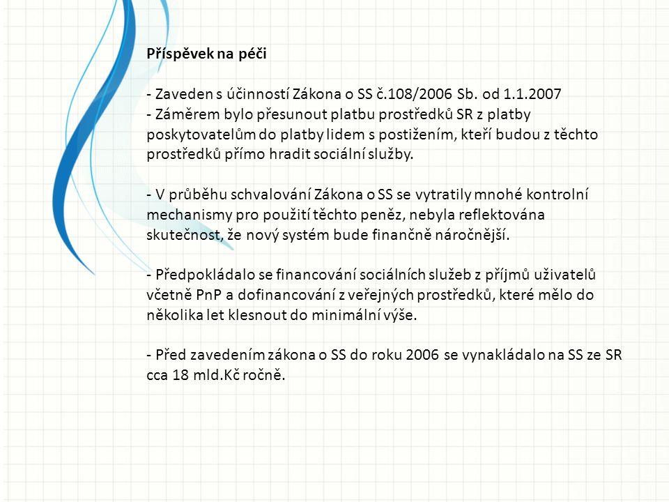Příspěvek na péči - Zaveden s účinností Zákona o SS č.108/2006 Sb. od 1.1.2007 - Záměrem bylo přesunout platbu prostředků SR z platby poskytovatelům d