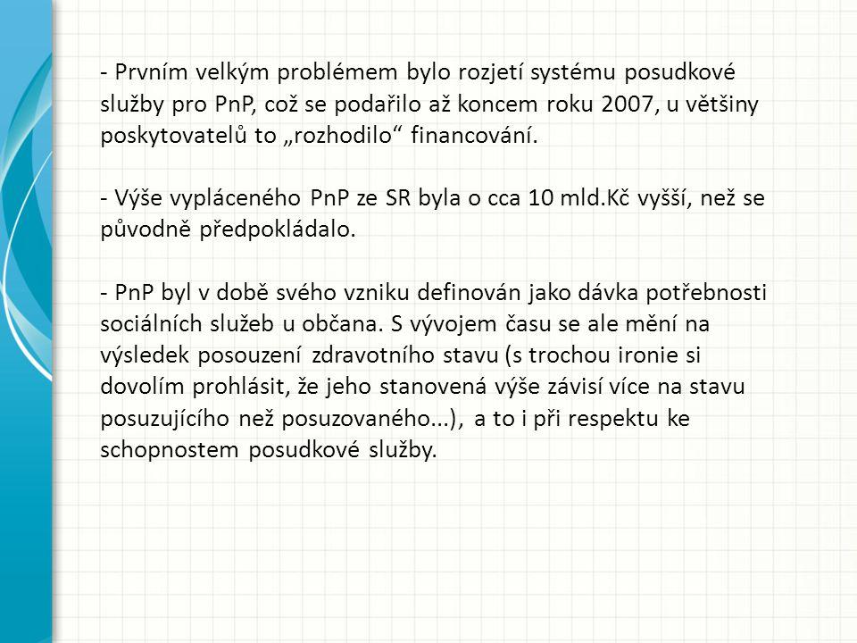 """- Prvním velkým problémem bylo rozjetí systému posudkové služby pro PnP, což se podařilo až koncem roku 2007, u většiny poskytovatelů to """"rozhodilo financování."""