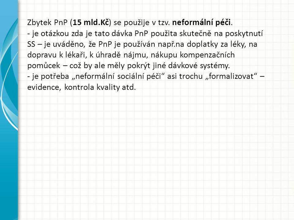 Zbytek PnP (15 mld.Kč) se použije v tzv. neformální péči. - je otázkou zda je tato dávka PnP použita skutečně na poskytnutí SS – je uváděno, že PnP je