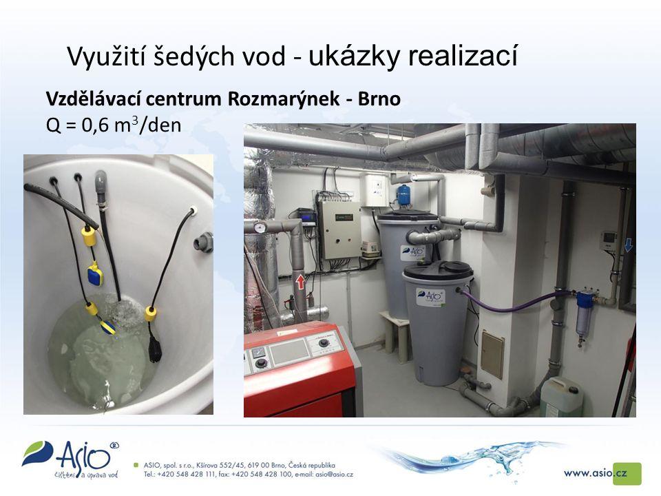 Vzdělávací centrum Rozmarýnek - Brno Q = 0,6 m 3 /den Využití šedých vod - ukázky realizací