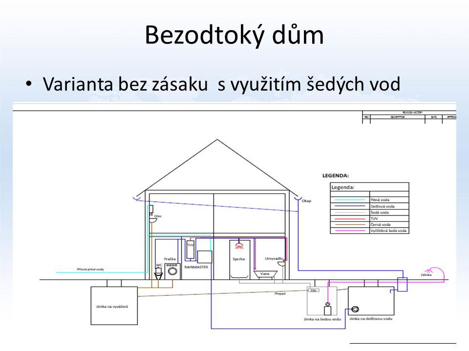 Bezodtoký dům Varianta bez zásaku s využitím šedých vod