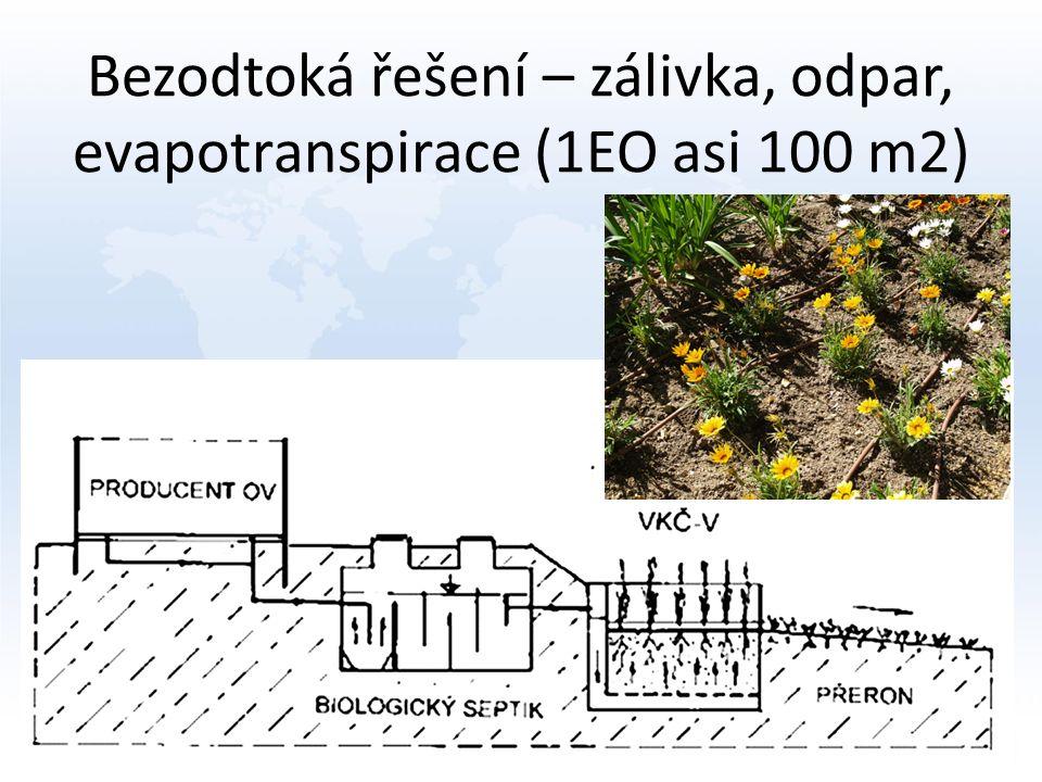 Bezodtoká řešení – zálivka, odpar, evapotranspirace (1EO asi 100 m2)