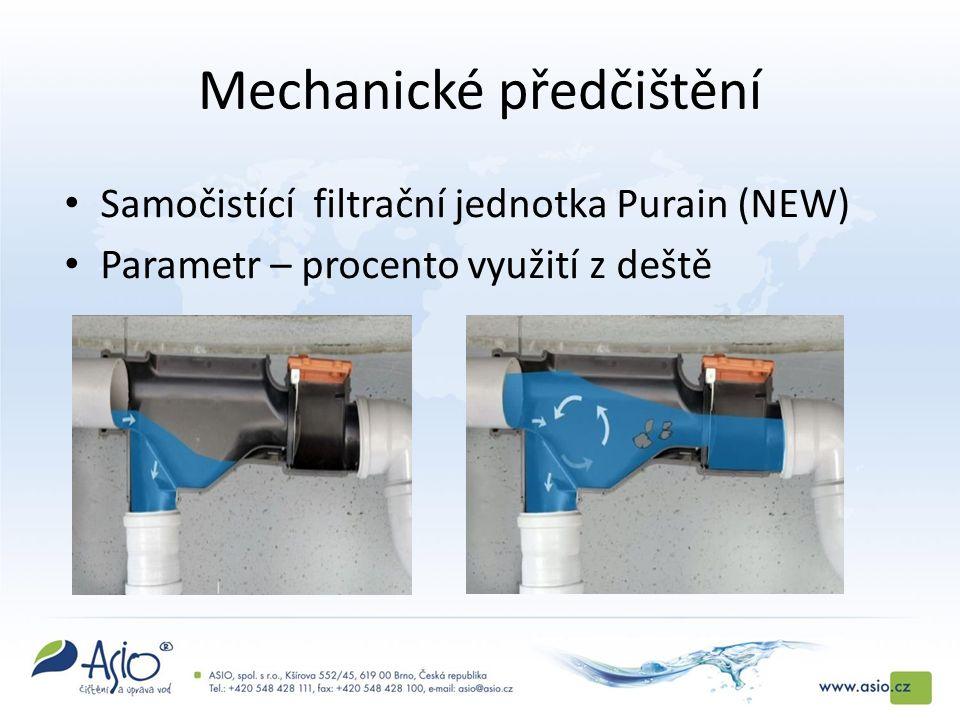 Mechanické předčištění Samočistící filtrační jednotka Purain (NEW) Parametr – procento využití z deště
