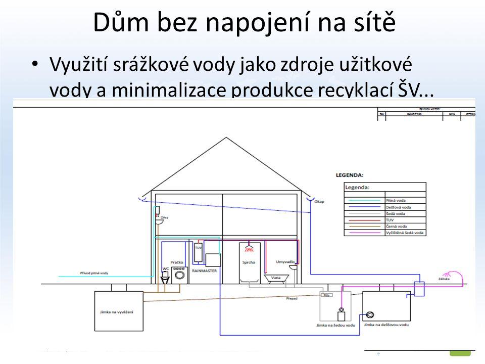 Dům bez napojení na sítě Využití srážkové vody jako zdroje užitkové vody a minimalizace produkce recyklací ŠV...