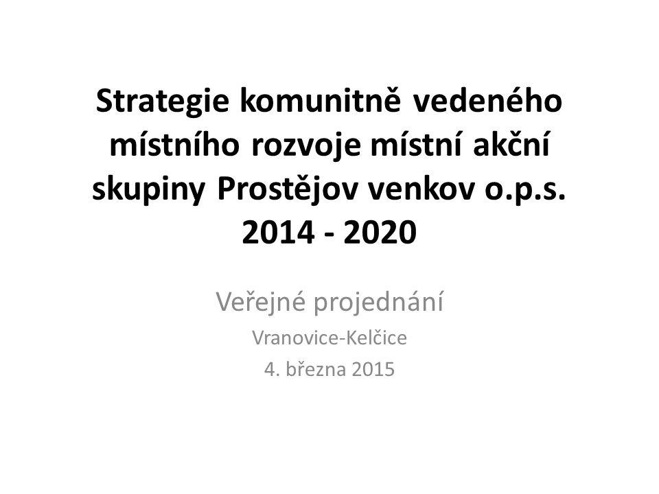 Strategie komunitně vedeného místního rozvoje místní akční skupiny Prostějov venkov o.p.s. 2014 - 2020 Veřejné projednání Vranovice-Kelčice 4. března