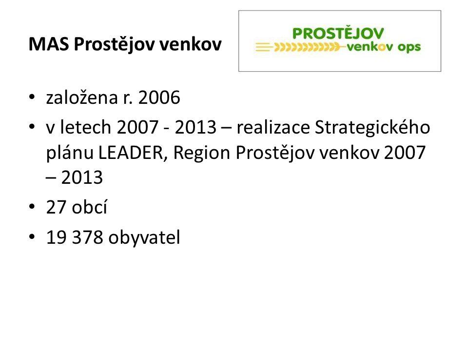 založena r. 2006 v letech 2007 - 2013 – realizace Strategického plánu LEADER, Region Prostějov venkov 2007 – 2013 27 obcí 19 378 obyvatel