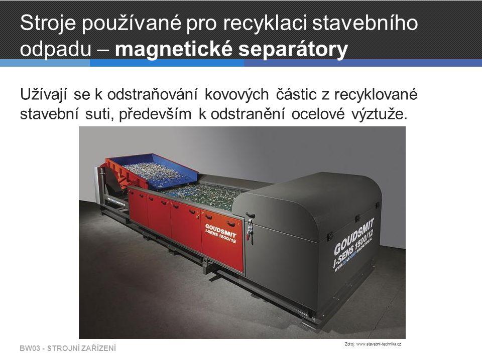 Stroje používané pro recyklaci stavebního odpadu – magnetické separátory Užívají se k odstraňování kovových částic z recyklované stavební suti, především k odstranění ocelové výztuže.