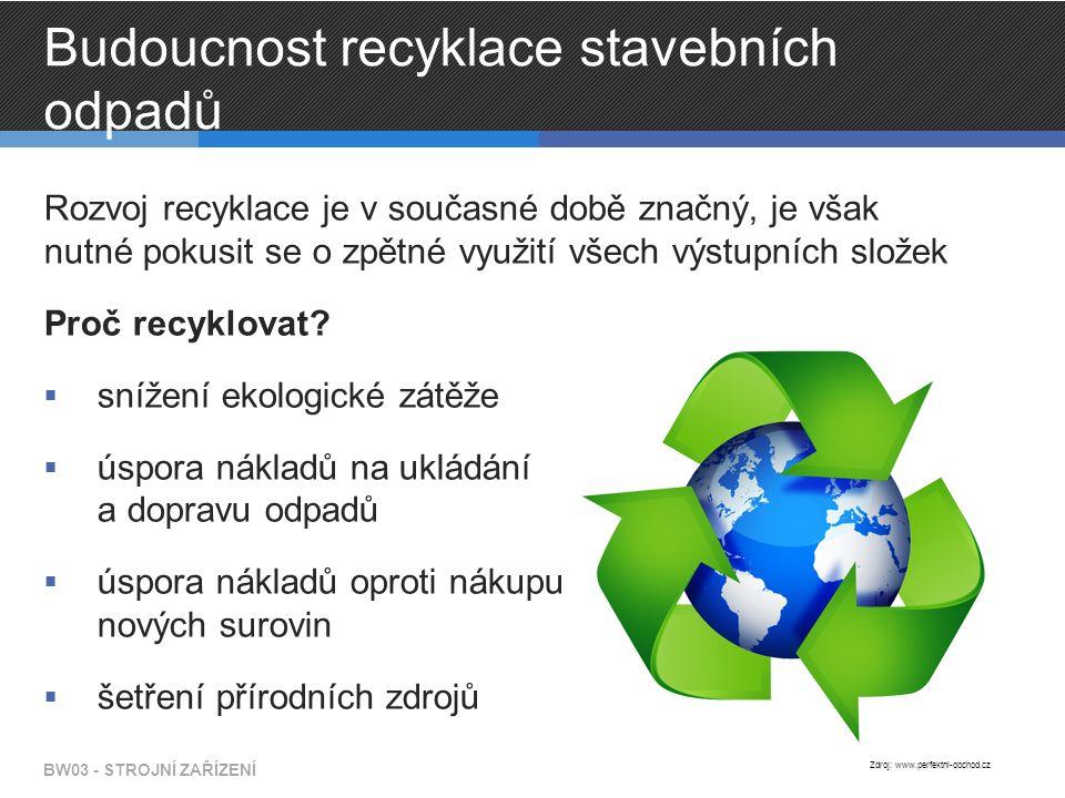Budoucnost recyklace stavebních odpadů Rozvoj recyklace je v současné době značný, je však nutné pokusit se o zpětné využití všech výstupních složek Proč recyklovat.