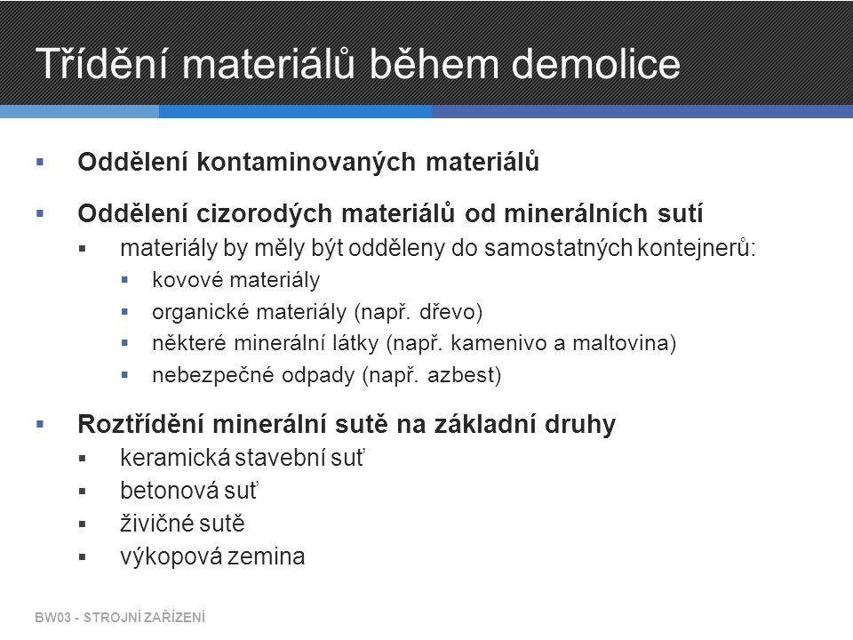 Třídění materiálů během demolice  Oddělení kontaminovaných materiálů  Oddělení cizorodých materiálů od minerálních sutí  materiály by měly být odděleny do samostatných kontejnerů:  kovové materiály  organické materiály (např.