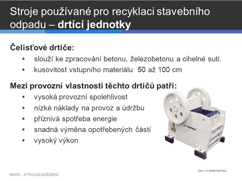 BW03 - STROJNÍ ZAŘÍZENÍ Zdroj: www.geologie.vsb.cz Čelisťový drtič