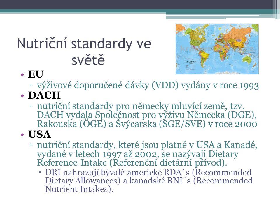 Nutriční standardy ve světě EU ▫výživové doporučené dávky (VDD) vydány v roce 1993 DACH ▫nutriční standardy pro německy mluvící země, tzv.