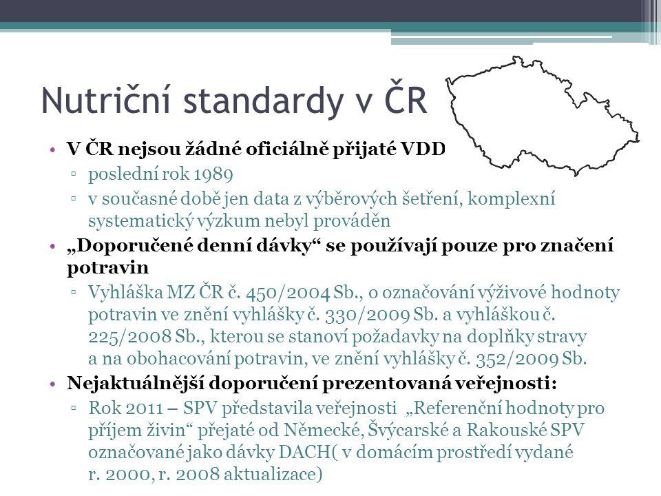 """Nutriční standardy v ČR V ČR nejsou žádné oficiálně přijaté VDD ▫poslední rok 1989 ▫v současné době jen data z výběrových šetření, komplexní systematický výzkum nebyl prováděn """"Doporučené denní dávky se používají pouze pro značení potravin ▫Vyhláška MZ ČR č."""