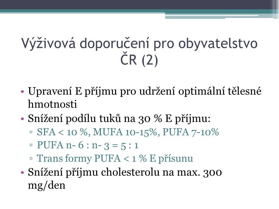 Výživová doporučení pro obyvatelstvo ČR (2) Upravení E příjmu pro udržení optimální tělesné hmotnosti Snížení podílu tuků na 30 % E příjmu: ▫SFA < 10 %, MUFA 10-15%, PUFA 7-10% ▫PUFA n- 6 : n- 3 = 5 : 1 ▫Trans formy PUFA < 1 % E přísunu Snížení příjmu cholesterolu na max.