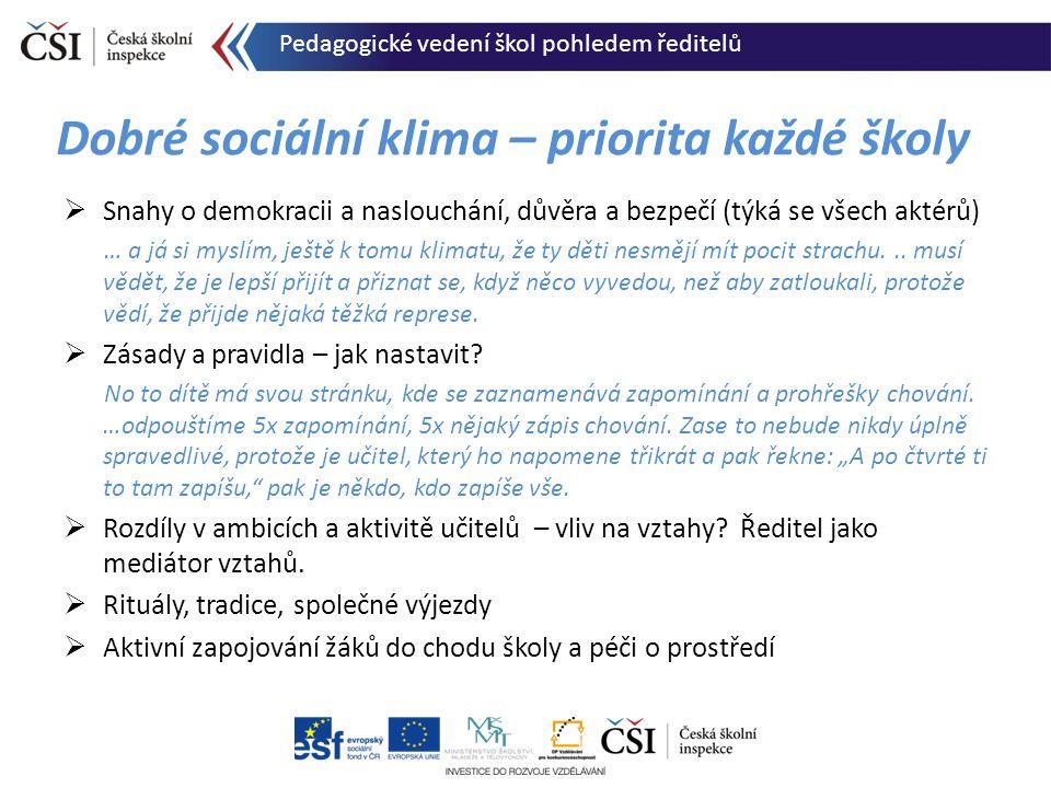 Dobré sociální klima – priorita každé školy  Snahy o demokracii a naslouchání, důvěra a bezpečí (týká se všech aktérů) … a já si myslím, ještě k tomu
