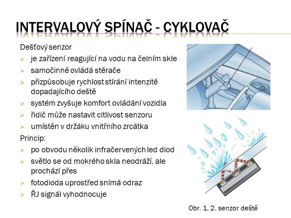 Dešťový senzor  je zařízení reagující na vodu na čelním skle  samočinně ovládá stěrače  přizpůsobuje rychlost stírání intenzitě dopadajícího deště  systém zvyšuje komfort ovládání vozidla  řidič může nastavit citlivost senzoru  umístěn v držáku vnitřního zrcátka Princip:  po obvodu několik infračervených led diod  světlo se od mokrého skla neodráží, ale prochází přes  fotodioda uprostřed snímá odraz  ŘJ signál vyhodnocuje Obr.