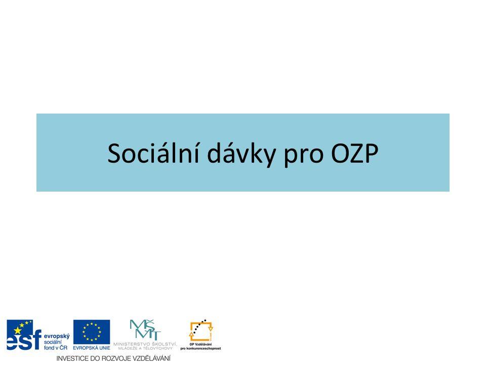 Sociální dávky Dávky ze systému sociálního zabezpečení, hl.: – Invalidní důchody – Příspěvek na péči – Příspěvky pro zdravotně postižené