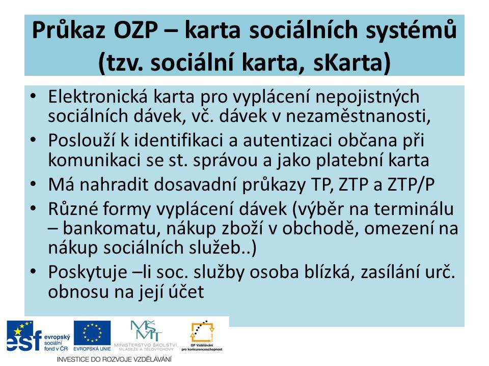 Průkaz OZP – karta sociálních systémů (tzv.