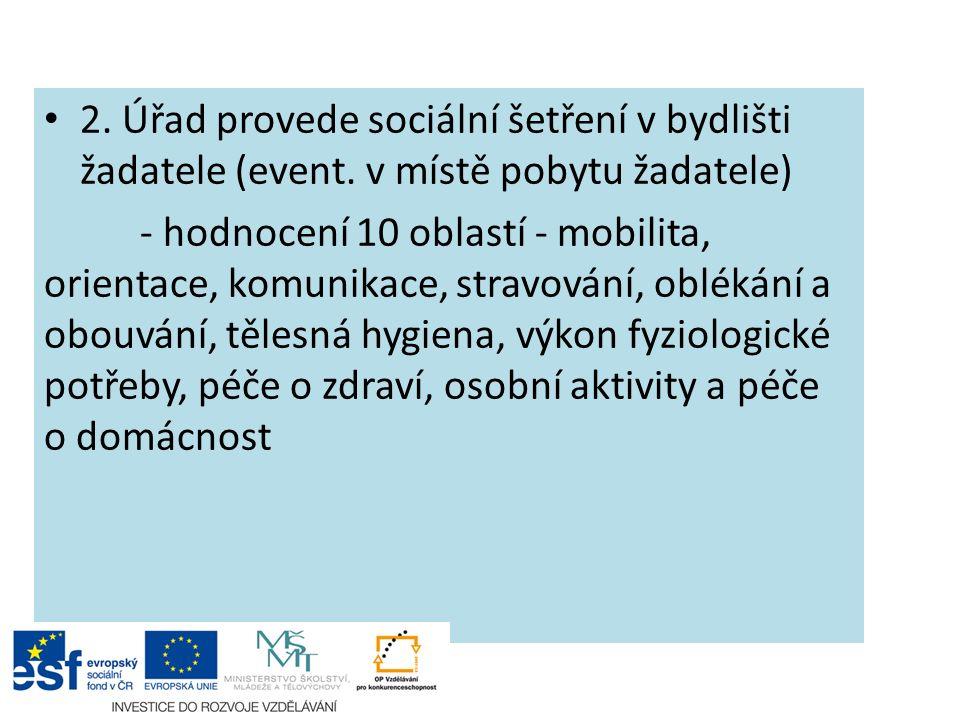 2. Úřad provede sociální šetření v bydlišti žadatele (event.