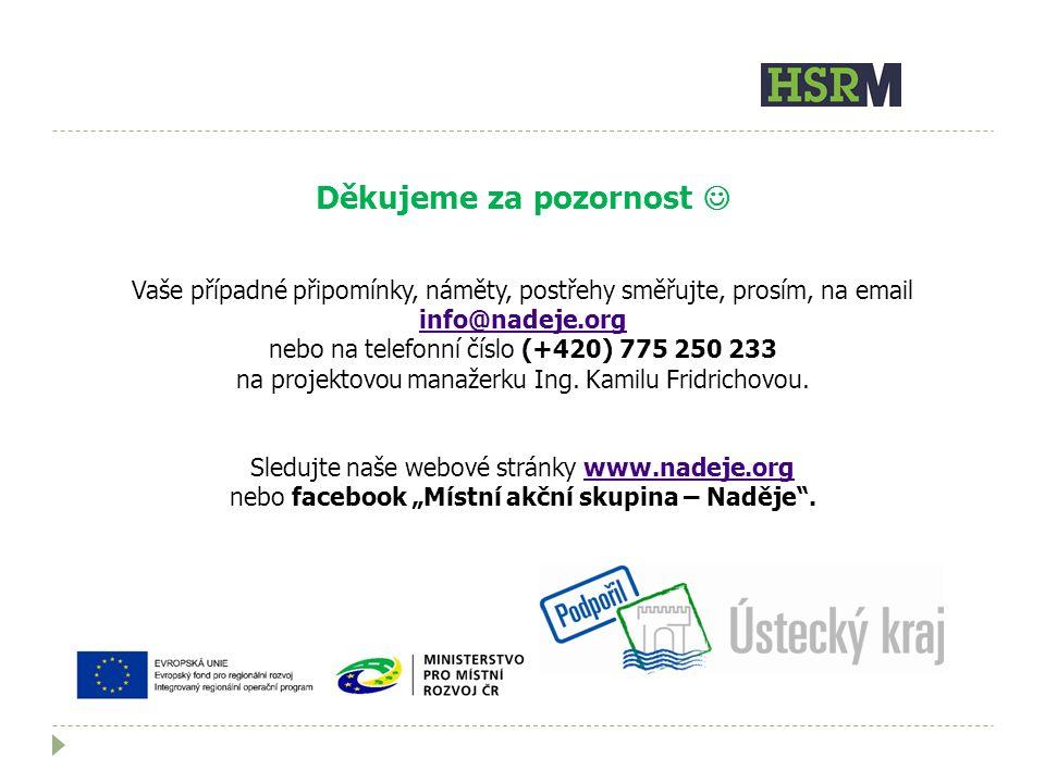 Děkujeme za pozornost Vaše případné připomínky, náměty, postřehy směřujte, prosím, na email info@nadeje.org info@nadeje.org nebo na telefonní číslo (+420) 775 250 233 na projektovou manažerku Ing.