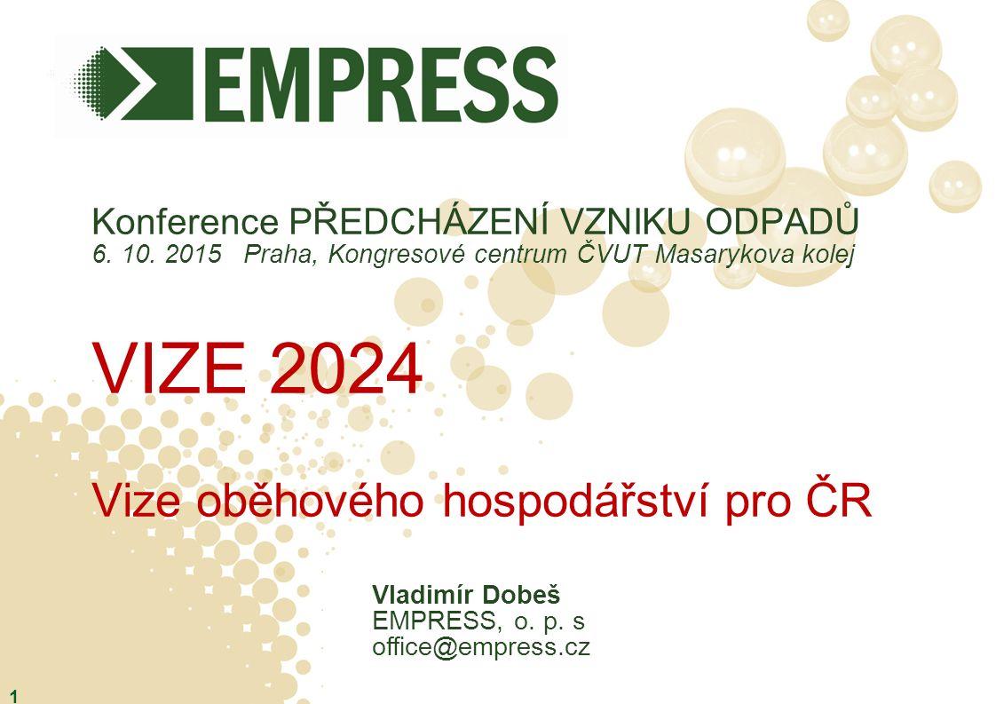 Konference PŘEDCHÁZENÍ VZNIKU ODPADŮ 6. 10. 2015 Praha, Kongresové centrum ČVUT Masarykova kolej VIZE 2024 Vize oběhového hospodářství pro ČR 1 Vladim