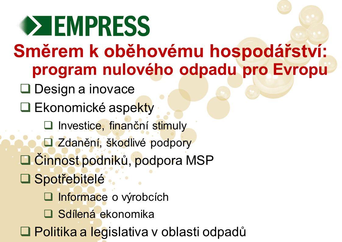 Směrem k oběhovému hospodářství: program nulového odpadu pro Evropu  Design a inovace  Ekonomické aspekty  Investice, finanční stimuly  Zdanění, š