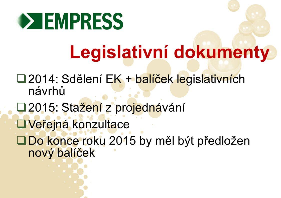 Legislativní dokumenty  2014: Sdělení EK + balíček legislativních návrhů  2015: Stažení z projednávání  Veřejná konzultace  Do konce roku 2015 by měl být předložen nový balíček
