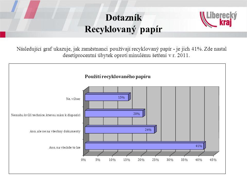 Dotazník Recyklovaný papír Následující graf ukazuje, jak zaměstnanci používají recyklovaný papír - je jich 41%.
